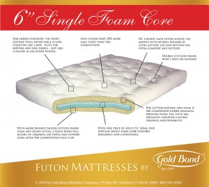 "Gold Bond 6"" Cotton & Foam Futon"