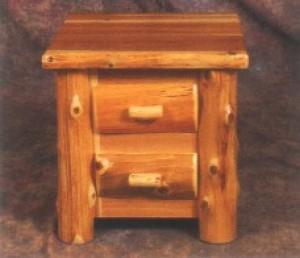 Northeastern Rustic Mount Timoney Collection Cedar 2 Drawer Nightstand