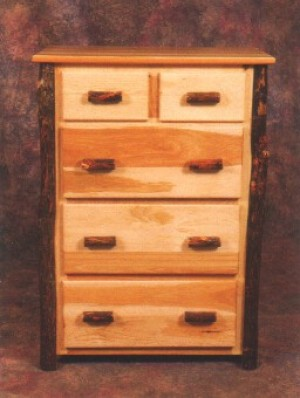 NE Rustic Katahdin Collection Hickory 5 Drawer Chest