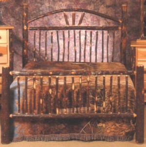 Northeastern Rustic Katahdin Collection Hickory Curve Top Bed