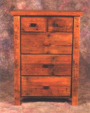 NE Rustic Aroostock Collection Barnwood 5 Drawer Chest