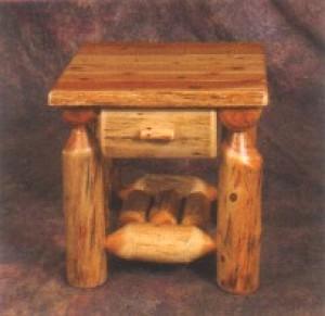 Northeastern Rustic Mount Timoney Collection Cedar 1 Drawer Nightstand