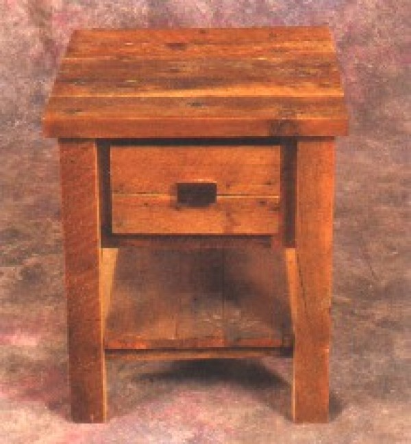 Northeastern Rustic Aroostock Collection Barnwood 1 Drawer Nightstand