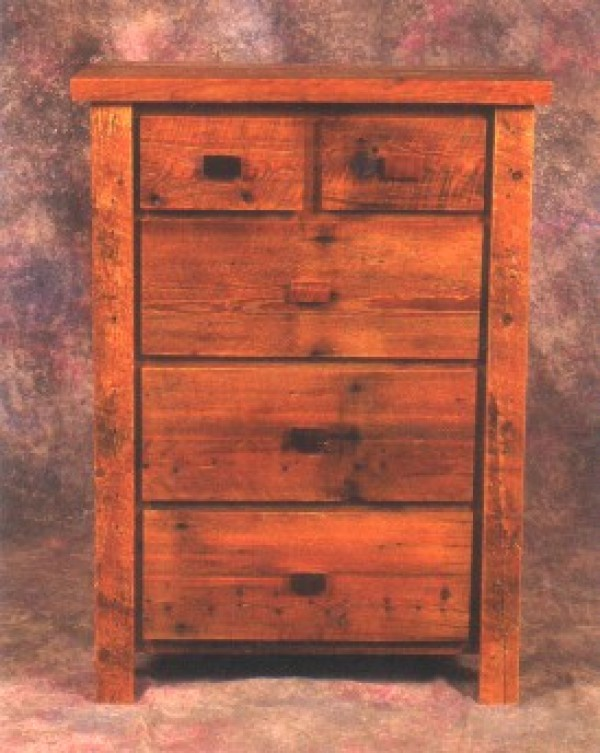 NE Rustic Aroostock Collection Barnwood 5 Drawer Chest