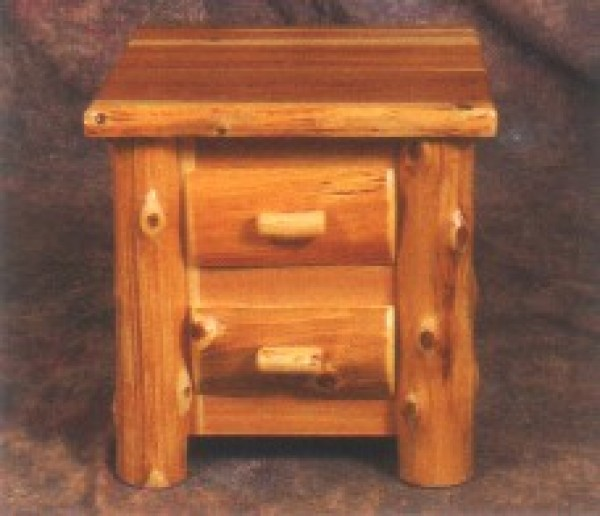 Northeastern Rustic Mount Timoney Collection Cedar 2 Drawer Nightstand