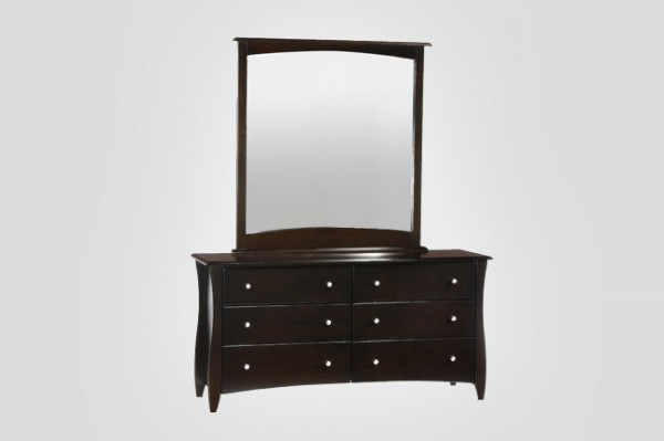 Night & Day Clove 6 Drawer Dresser (Chocolate) & Mirror