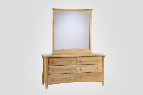 Night & Day Clove 6 Drawer Dresser (Natural) & Mirror