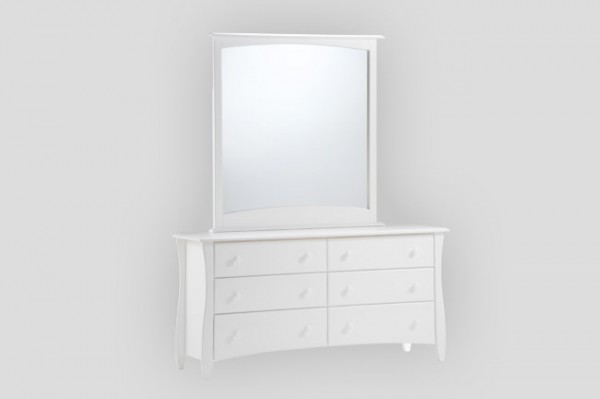 Night & Day Clove 6 Drawer Dresser (White) & Mirror