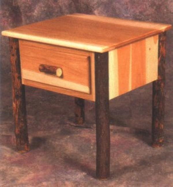 Northeastern Rustic Katahdin Collection Hickory 1 Drawer Nightstand