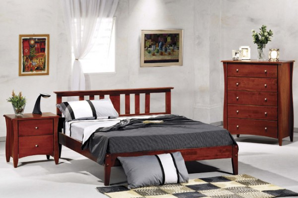 Night & Day Thyme Platform Bed (Cherry) & Clove Furniture